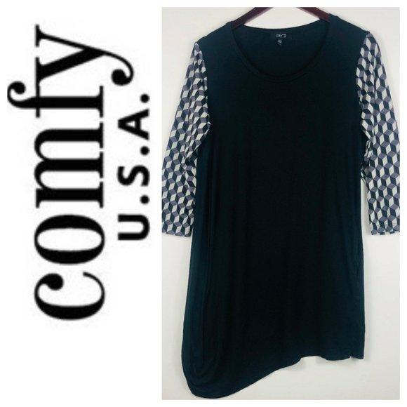 Comfy USA Tunic Top Shirt Large Black Art to Wear